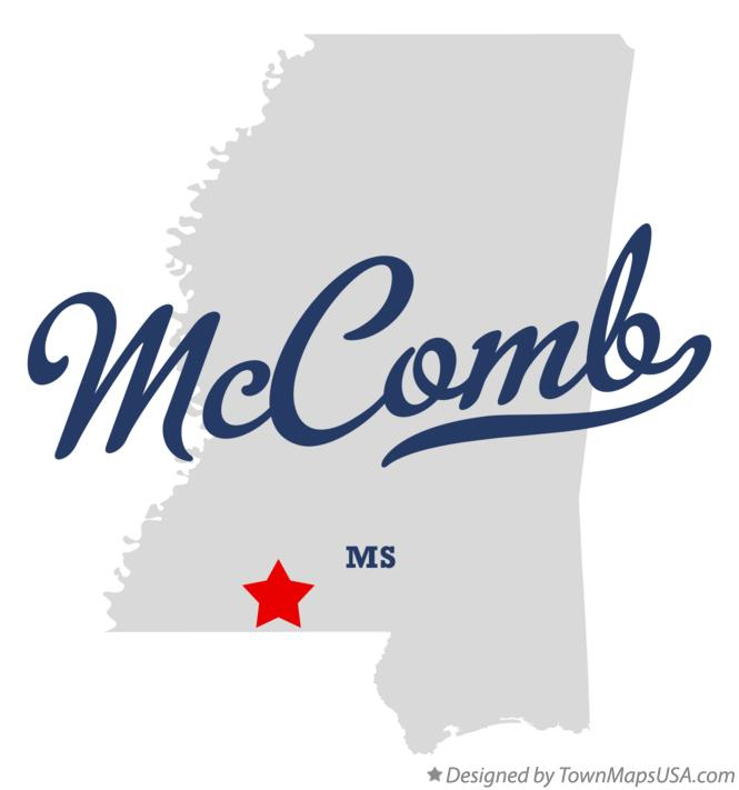 Map of McComb Mississippi MS