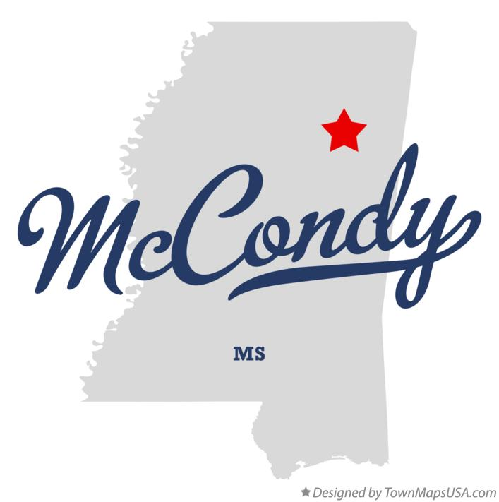 Map of McCondy Mississippi MS