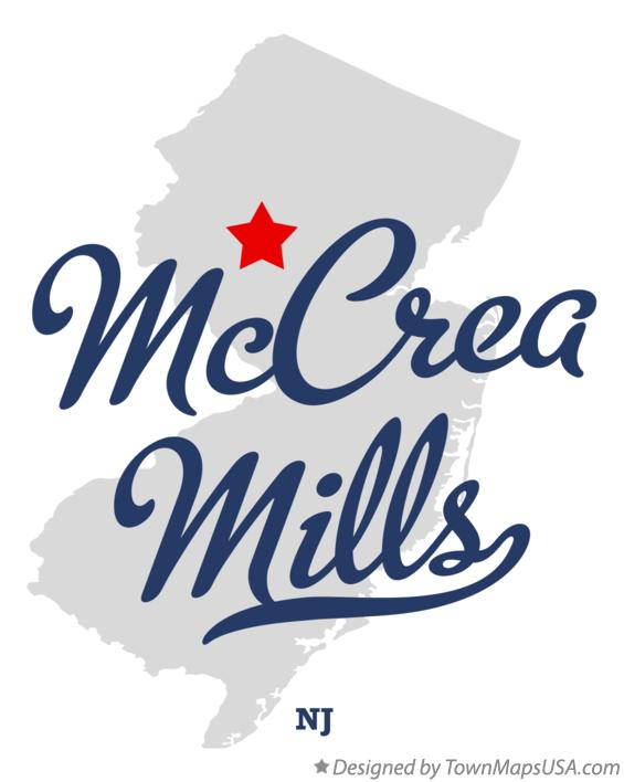 Map of McCrea Mills New Jersey NJ