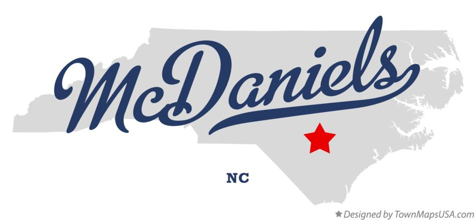 Map of McDaniels North Carolina NC
