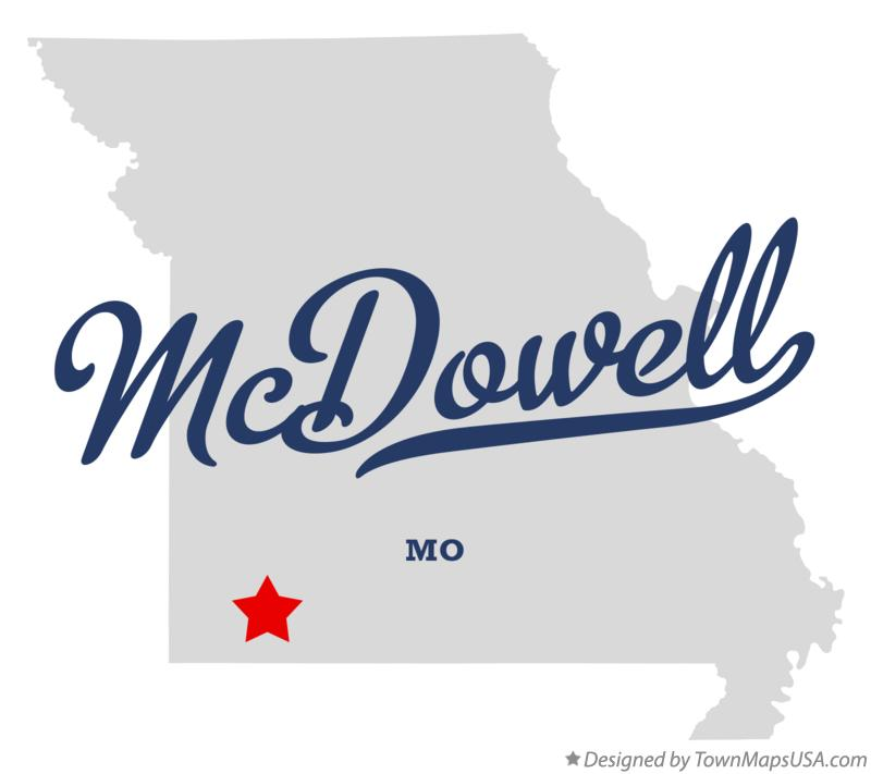 Map of McDowell Missouri MO