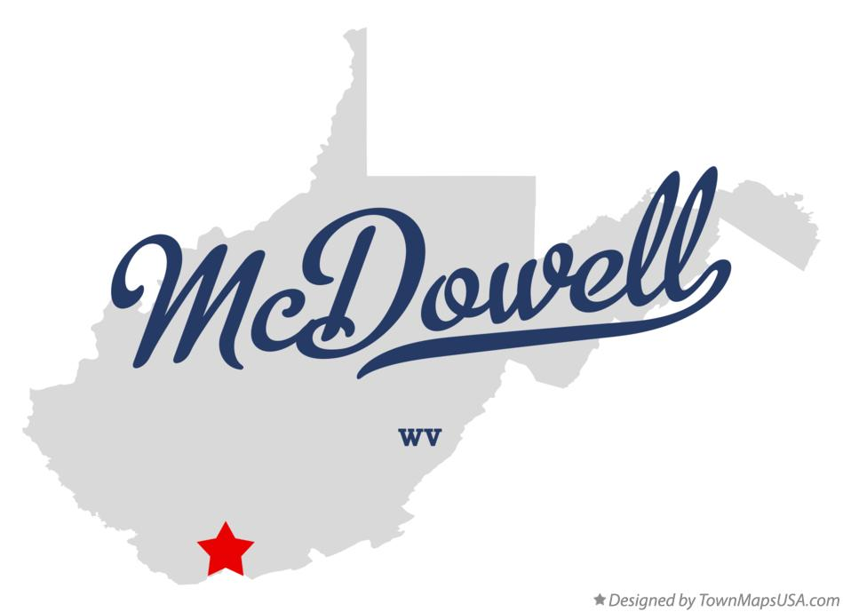 Map of McDowell West Virginia WV