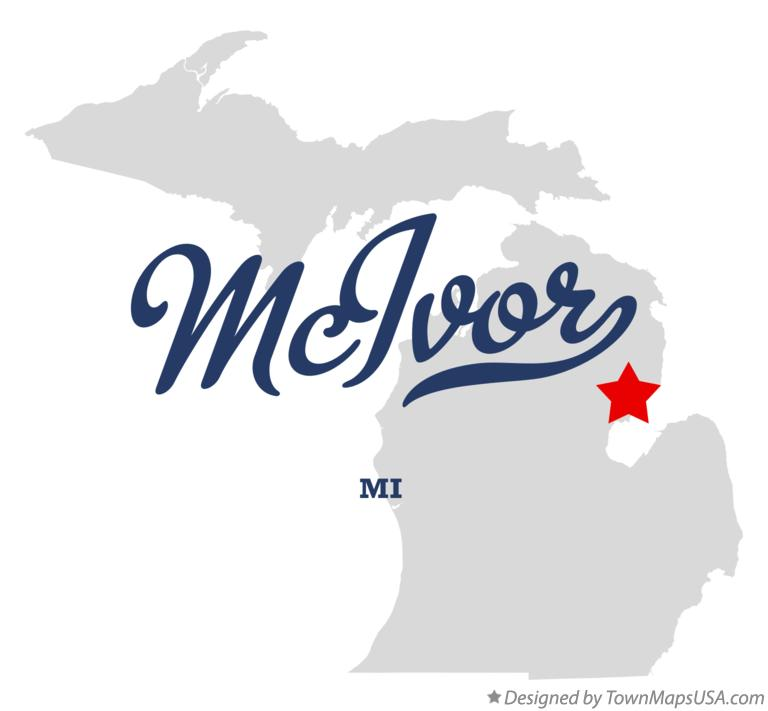 Map of McIvor Michigan MI