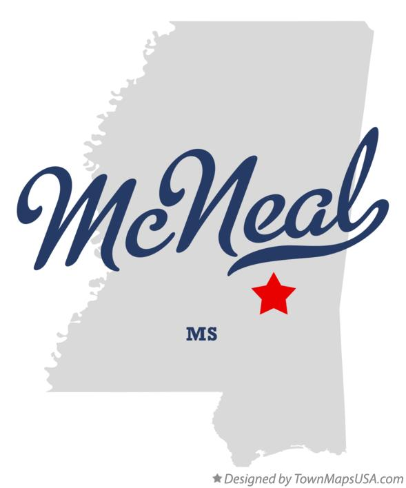 Map of McNeal Mississippi MS