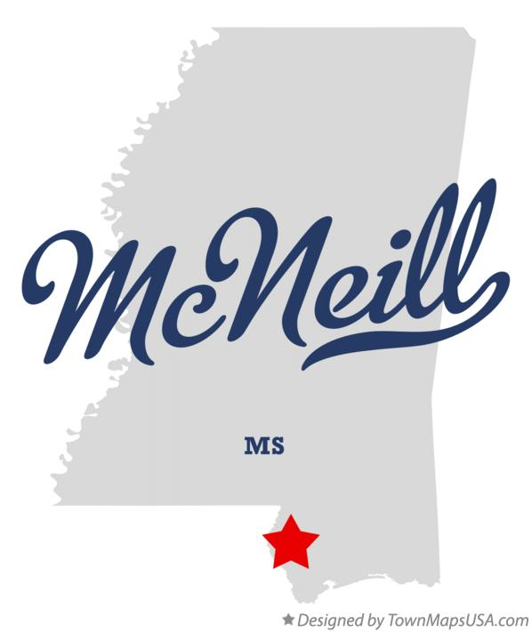 Map of McNeill Mississippi MS