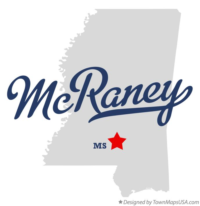 Map of McRaney Mississippi MS