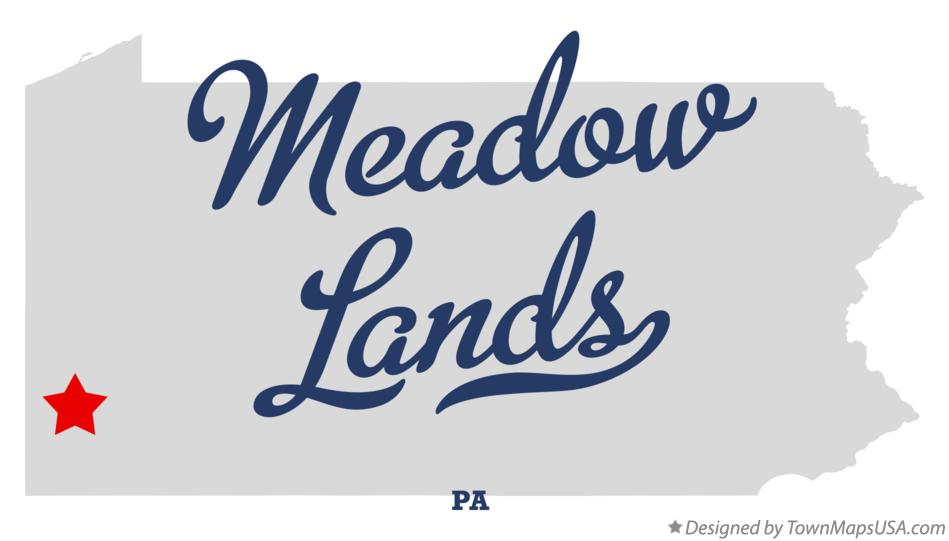 Map of Meadow Lands Pennsylvania PA