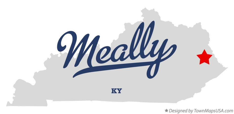 Map of Meally Kentucky KY