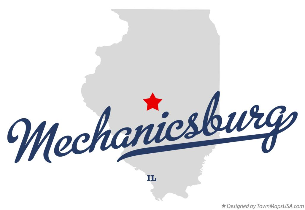 Map of Mechanicsburg Illinois IL