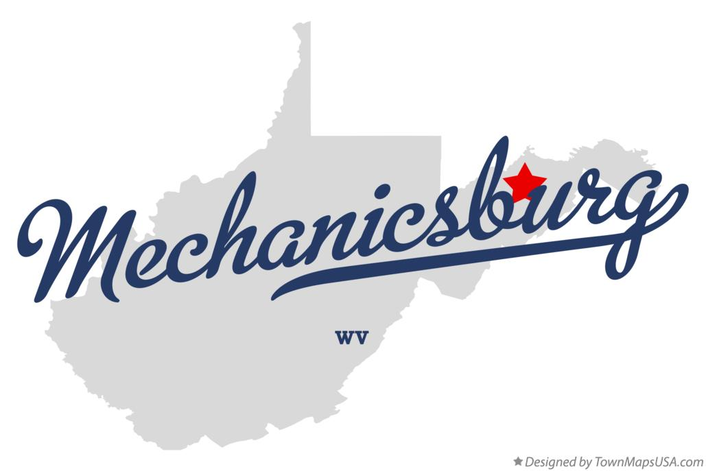 Map of Mechanicsburg West Virginia WV