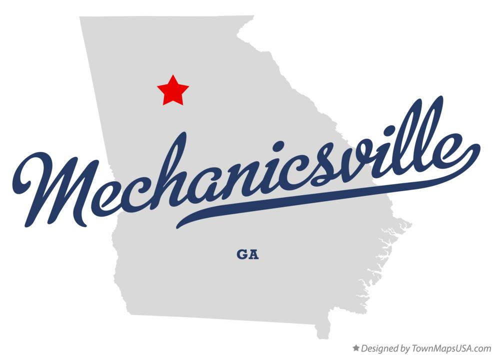 Map of Mechanicsville Georgia GA
