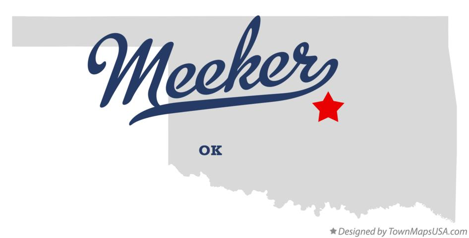 Map of Meeker Oklahoma OK