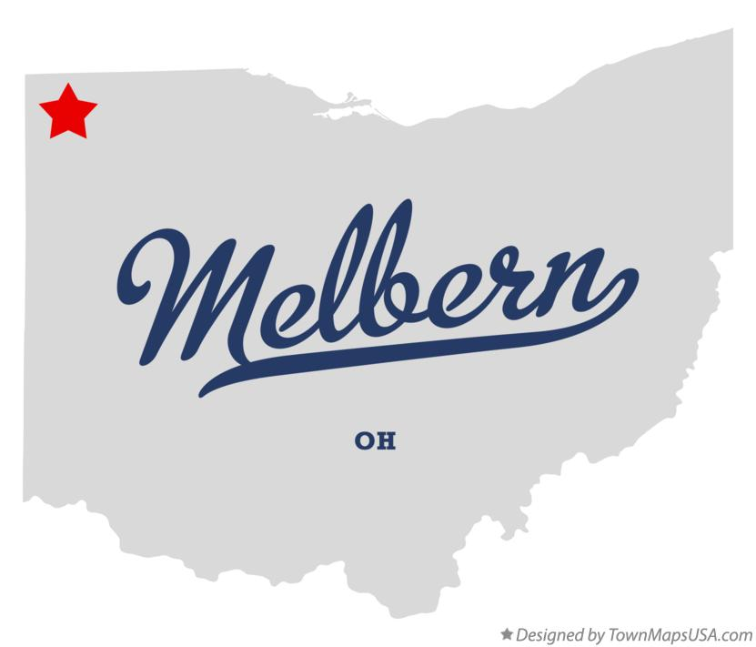 Map of Melbern Ohio OH