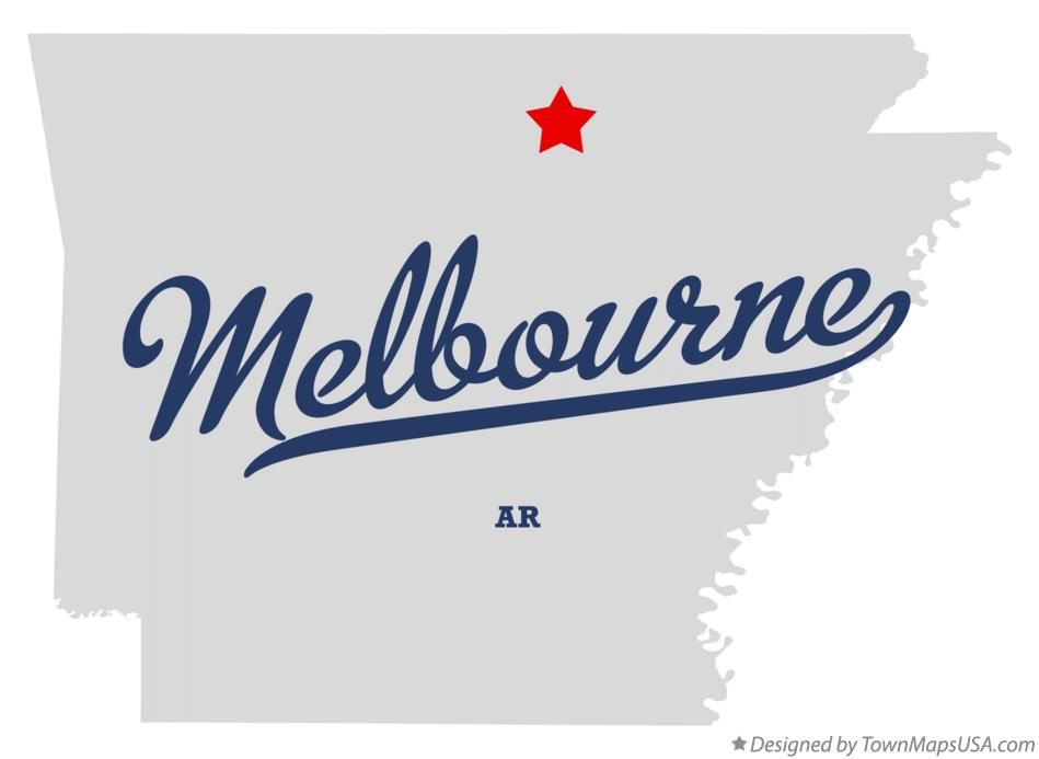 Map of Melbourne Arkansas AR