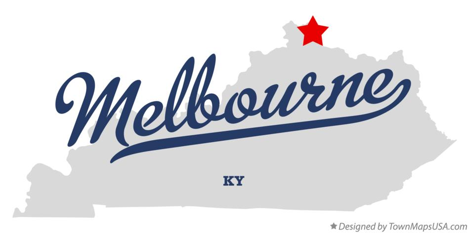 Map of Melbourne Kentucky KY