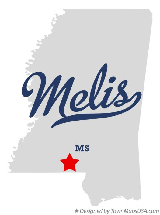 Map of Melis Mississippi MS