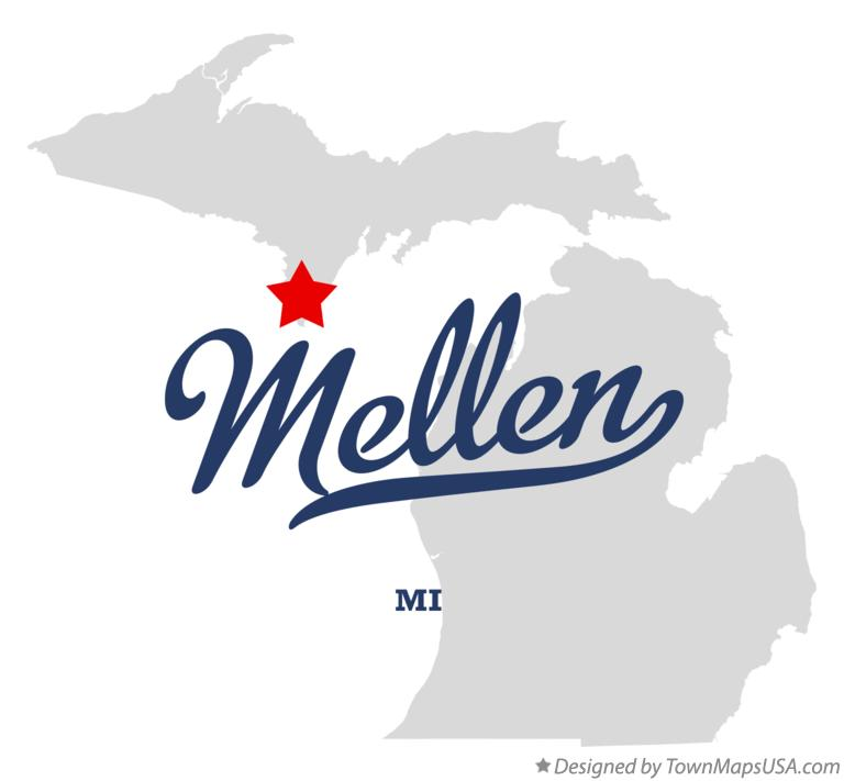 Map of Mellen Michigan MI