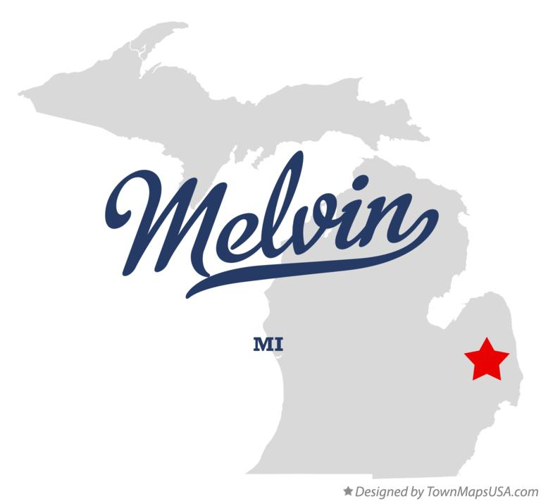 Map of Melvin Michigan MI