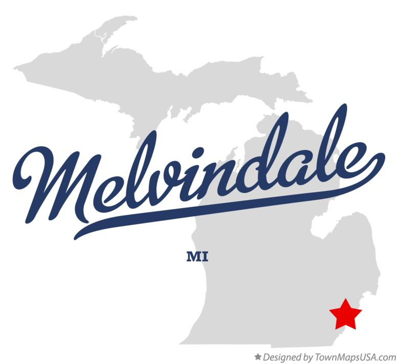 Map of Melvindale Michigan MI