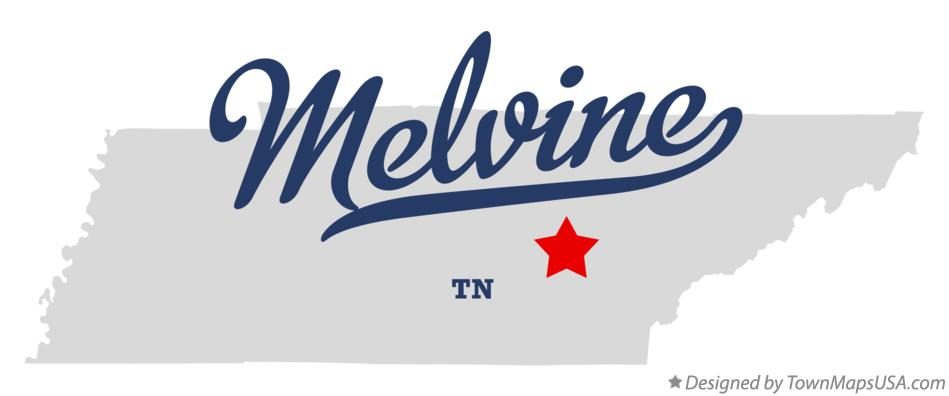 Map of Melvine Tennessee TN