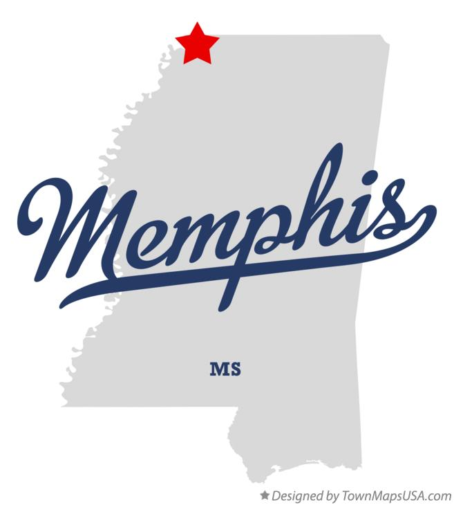 Map of Memphis Mississippi MS