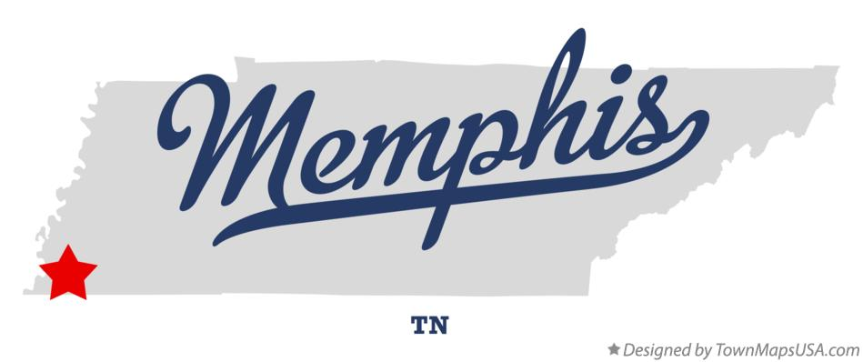 Map of Memphis, TN, Tennessee