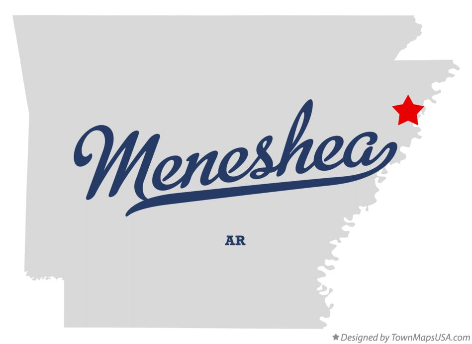 Map of Meneshea Arkansas AR