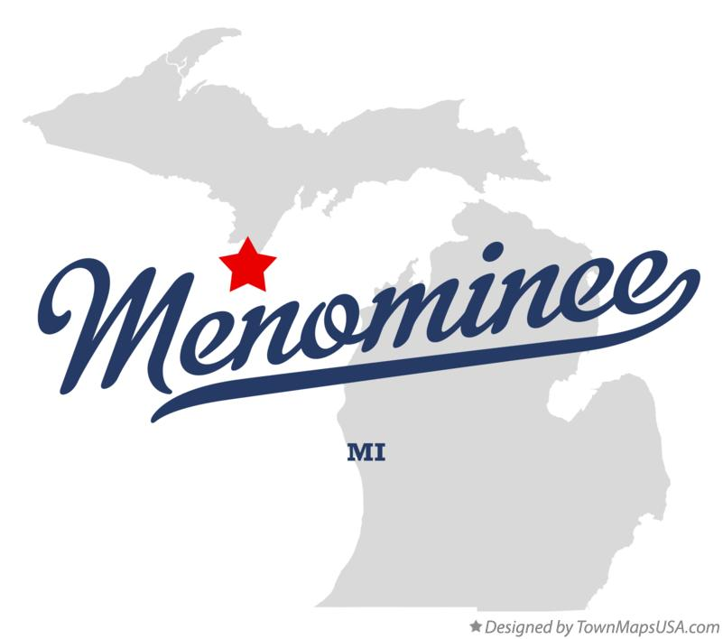 Map of Menominee Michigan MI