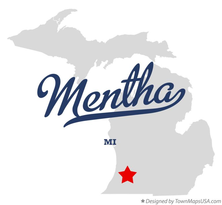 Map of Mentha Michigan MI