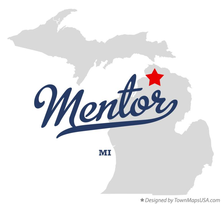 Map of Mentor Michigan MI