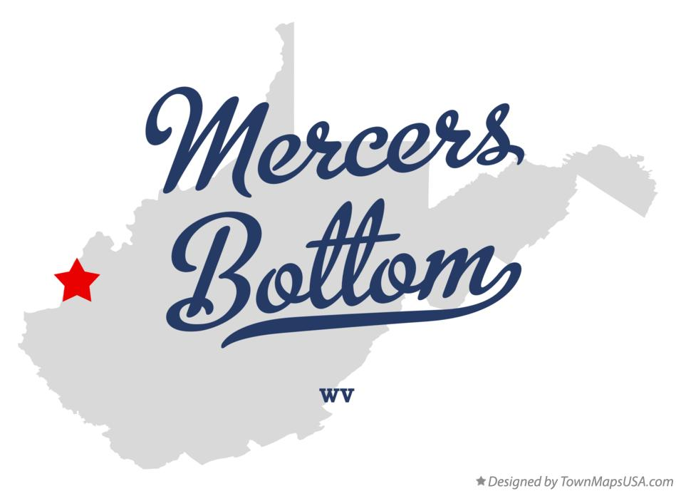 Map of Mercers Bottom West Virginia WV