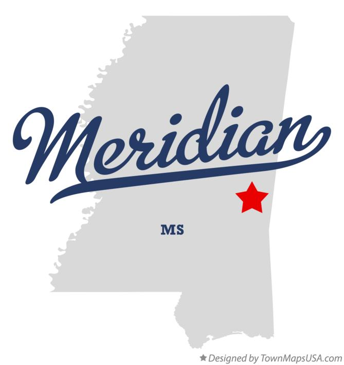 Map of Meridian Mississippi MS