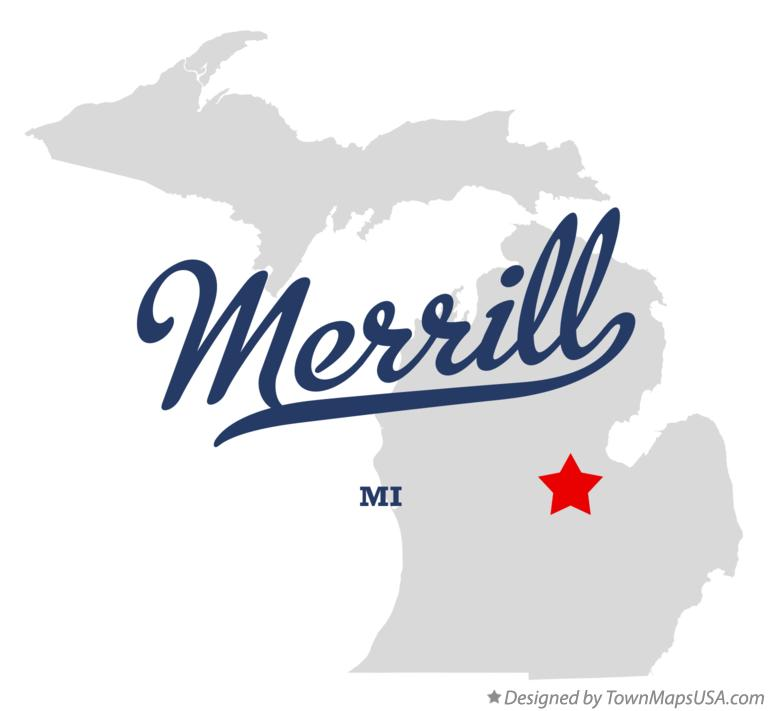 Map of Merrill Michigan MI