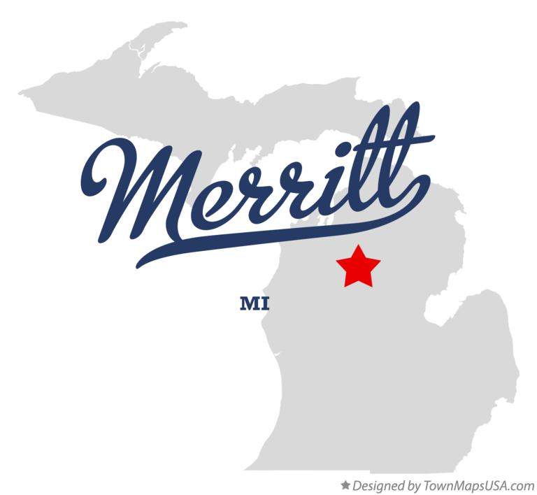 Map of Merritt Michigan MI