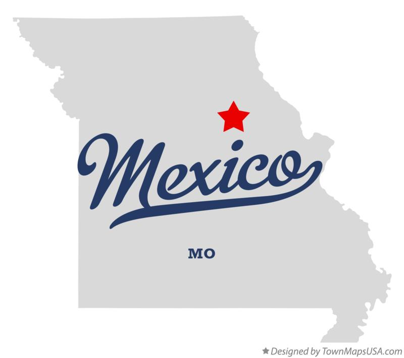 Map of Mexico, MO, Missouri