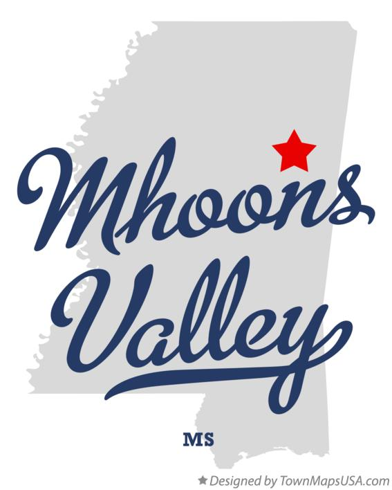 Map of Mhoons Valley Mississippi MS