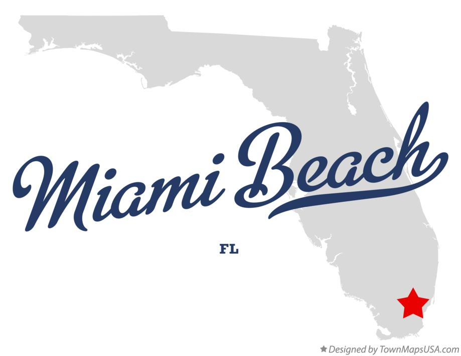 Map of Miami Beach Florida FL