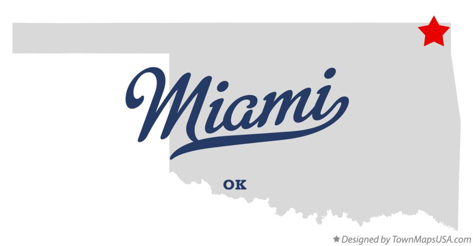 Map of Miami Oklahoma OK