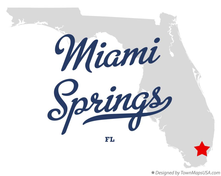 Map of Miami Springs Florida FL