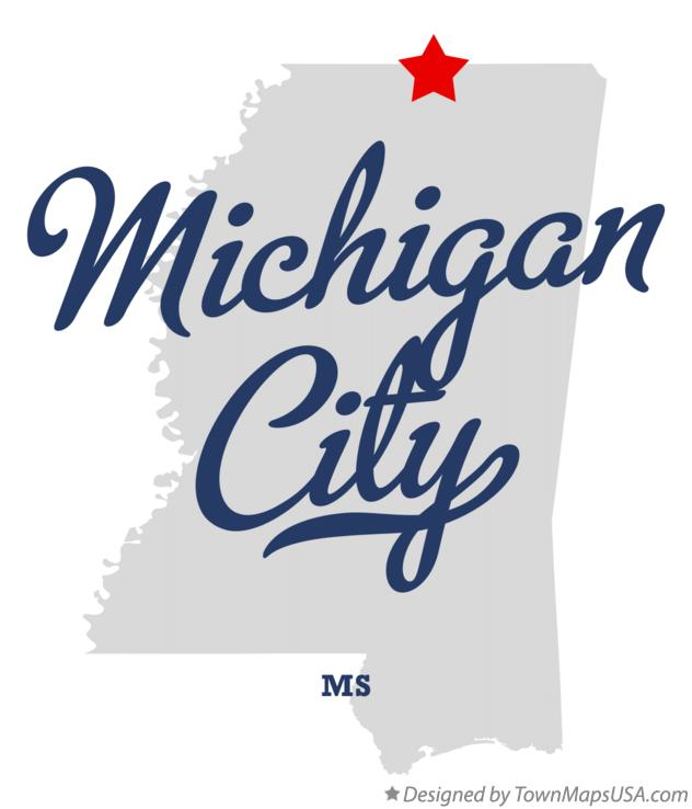 Map of Michigan City Mississippi MS