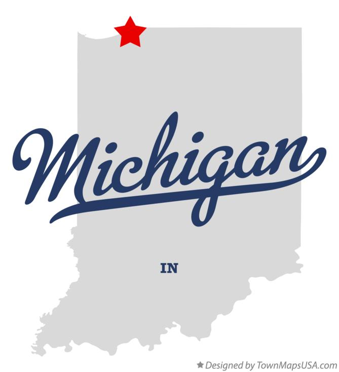 Map of Michigan Indiana IN