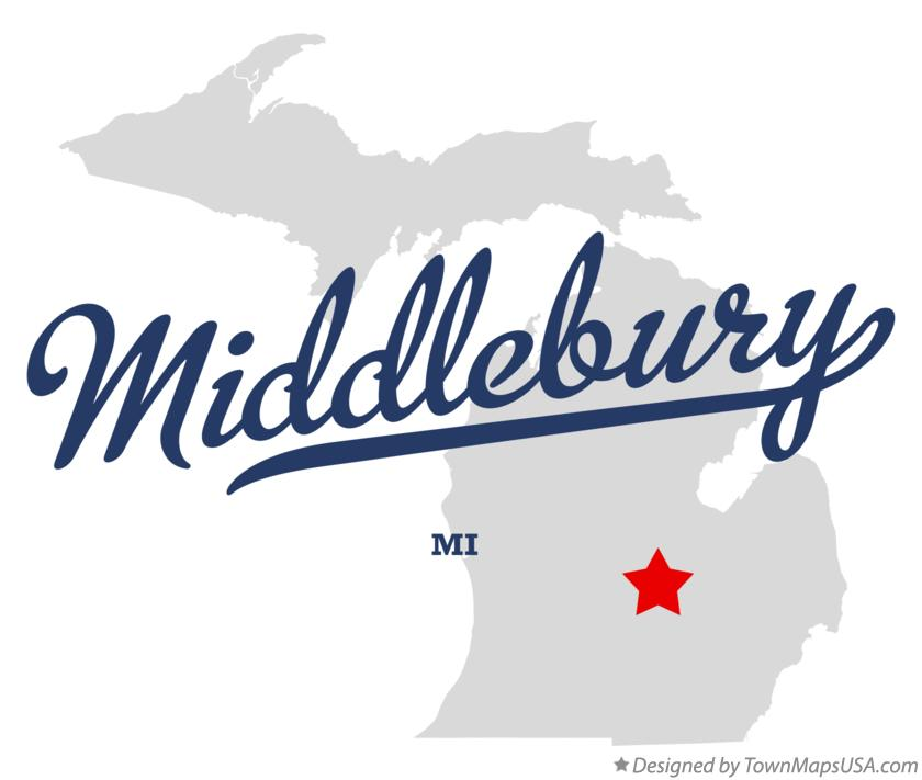 Map of Middlebury Michigan MI