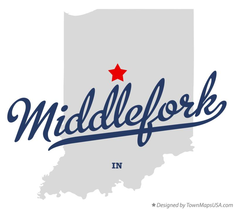 Map of Middlefork Indiana IN