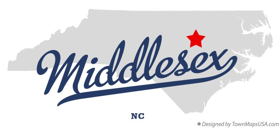 Map of Middlesex North Carolina NC