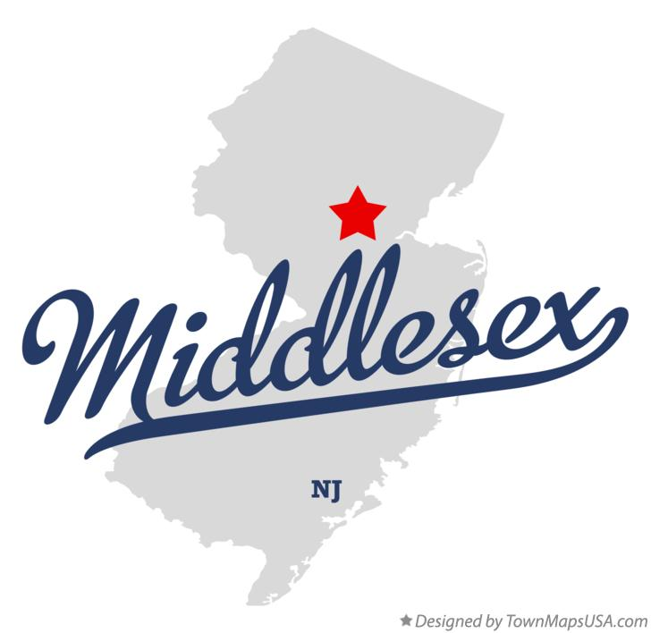 Map of Middlesex New Jersey NJ