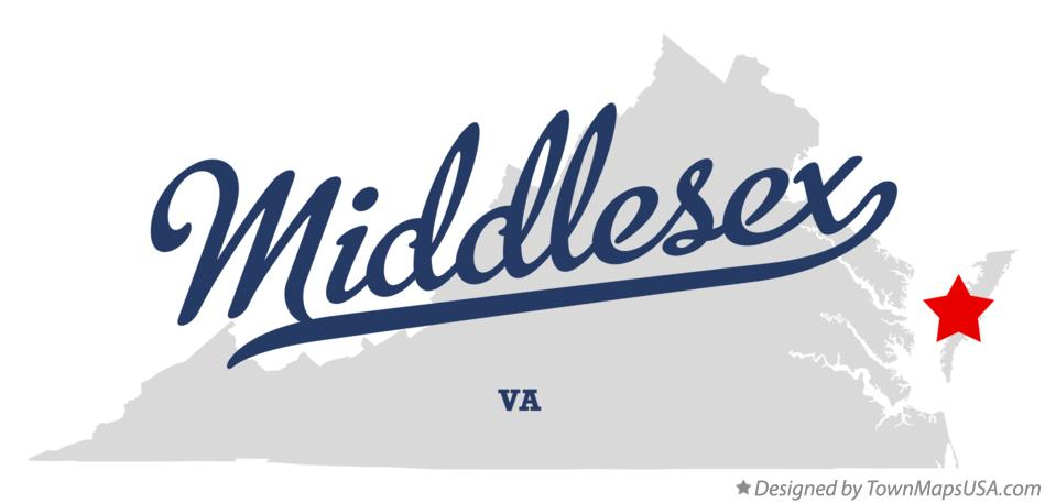 Map of Middlesex Virginia VA