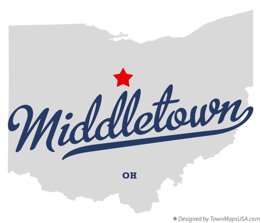 Map of Middletown Ohio OH