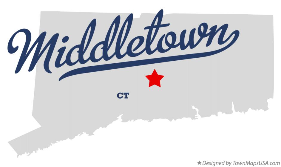 Map of Middletown Connecticut CT