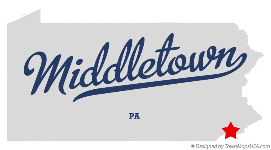 Map of Middletown Pennsylvania PA
