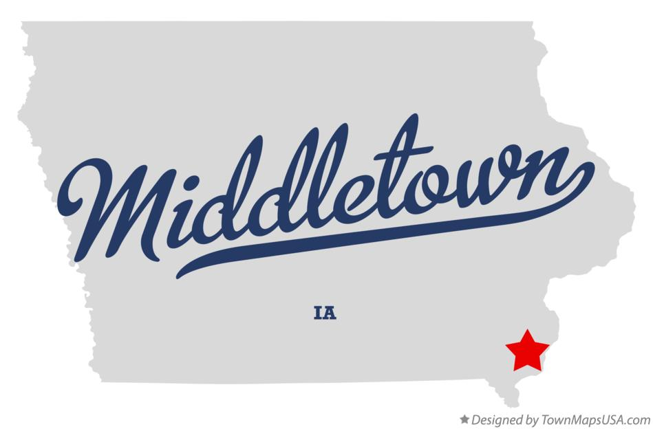Map of Middletown Iowa IA